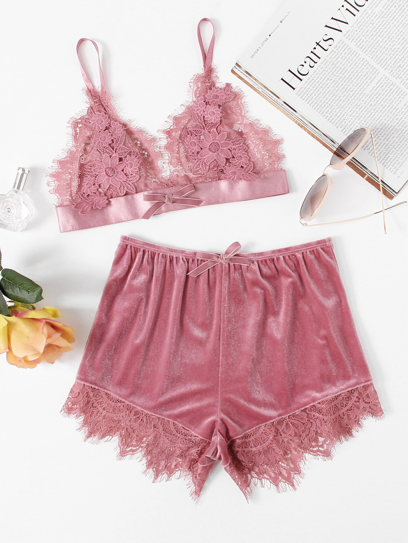 5f5a5c434 Applique Detail Lace Bralette   Velvet Shorts Set