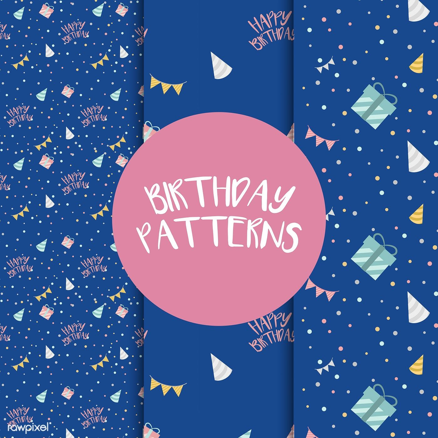 Set Of Birthday Pattern Vectors Free Image By Rawpixel Com With