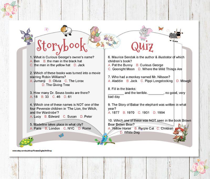 This Item Is Unavailable Etsy Storybook Baby Shower Baby Shower Quiz Book Theme Baby Shower