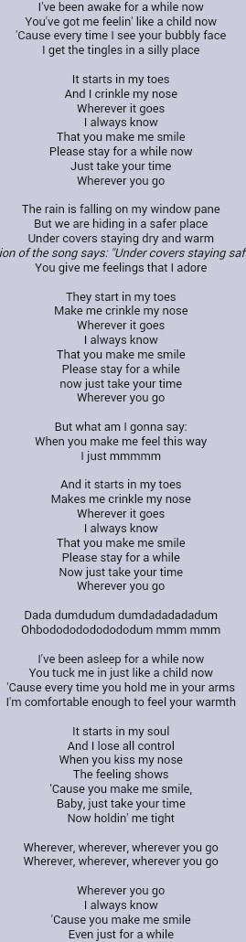 Song lyrics it starts in my toes