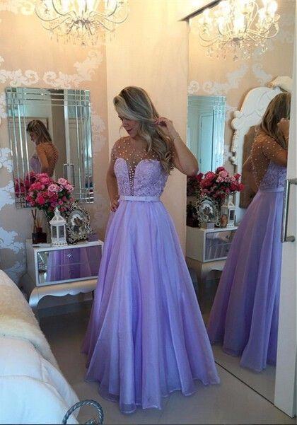 2017 Long Puffy Short-Sleeves Romantic Sheer Lavender Pearls Prom Dresses