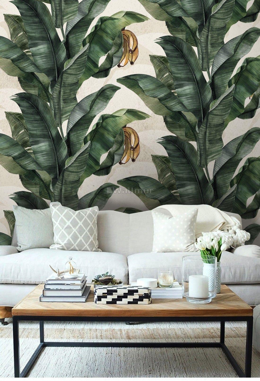 Banana Leaf Pattern Wallpaper Mural (с изображениями