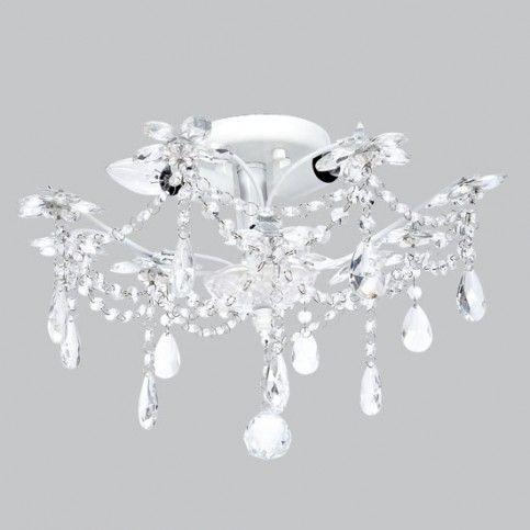 Ceiling Chandelier - 3 Light - Crystal Flower - White