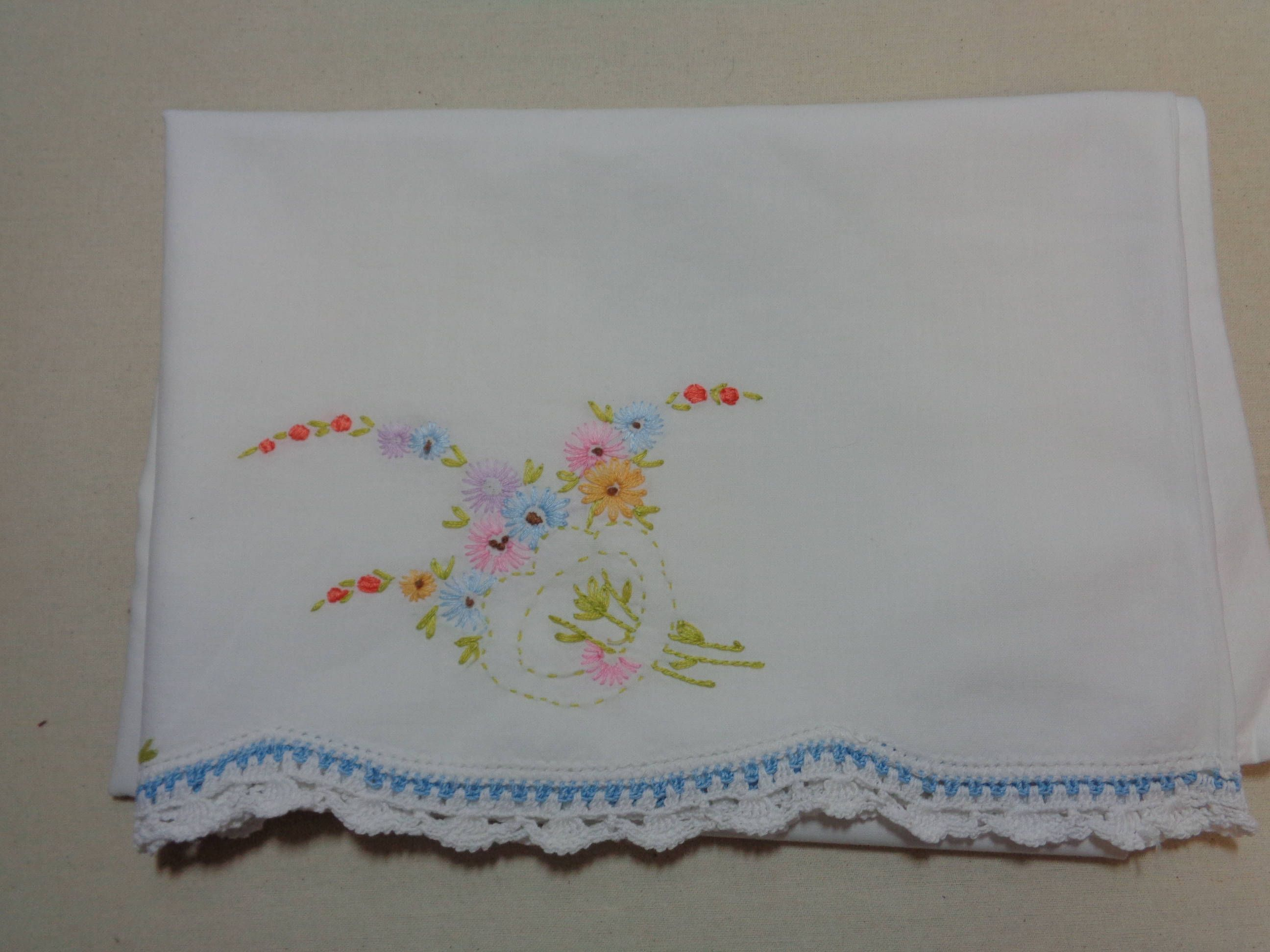 Beautiful Embroidered Vintage Pillow Case-Flowers - Linens by starspatternstore on Etsy