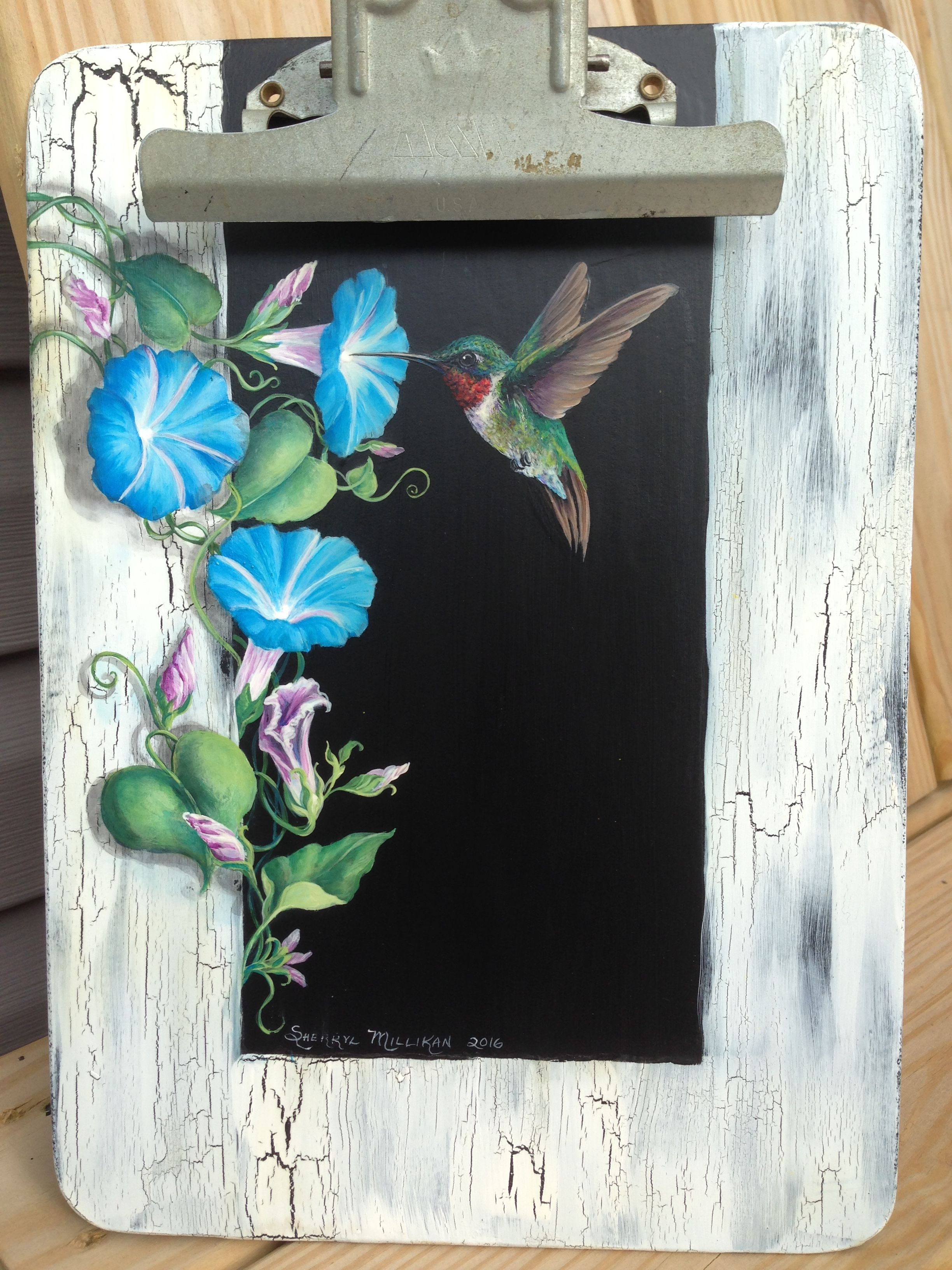 Chalkboard Clipboard Hummingbird With Morning Glories Painted By Sherrylpaintz