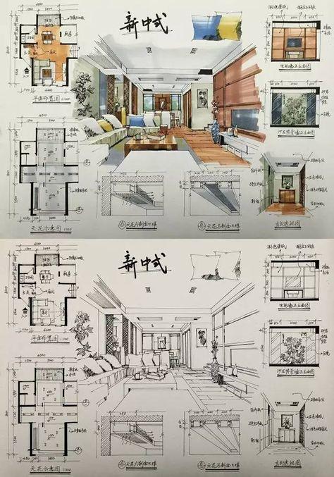 Presentacion de proyecto decoracion en forma display planta  alzado also affordable interior design houston luxuryinteriordesign info rh pinterest
