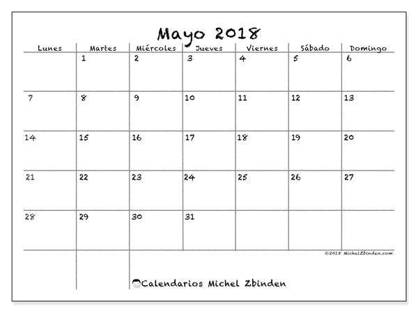calendario mayo 2018