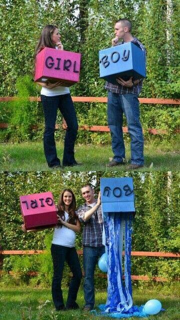 Cute gender reveal idea to do and post on facebook to let everyone out of town know.
