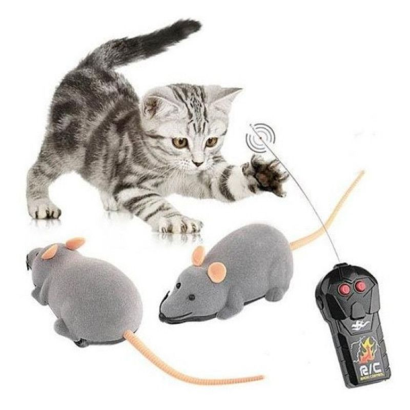 Remote Control Mouse Tricky Plastic Flocking Wireless Cat Dog Toy Brown