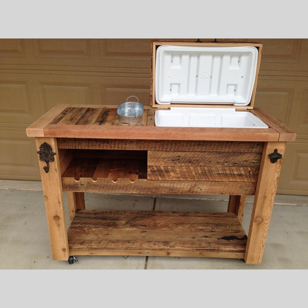 Barn Wood Cooler Table - Outdoor Bar Cart Serving