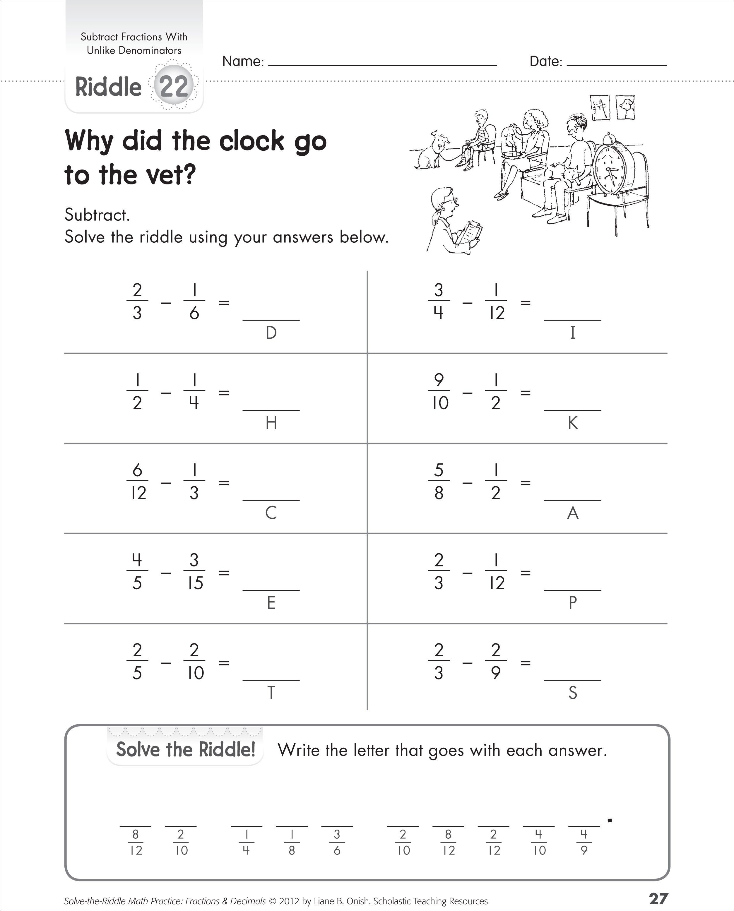 Printable Math Worksheet Riddles