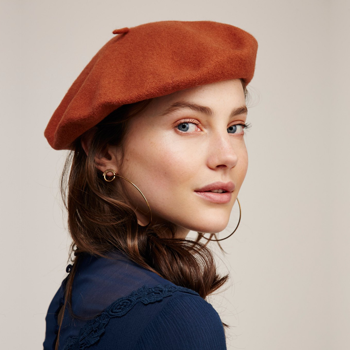 eb34e4035427e Channel the  60s in a chic orange-red beret from Free People.