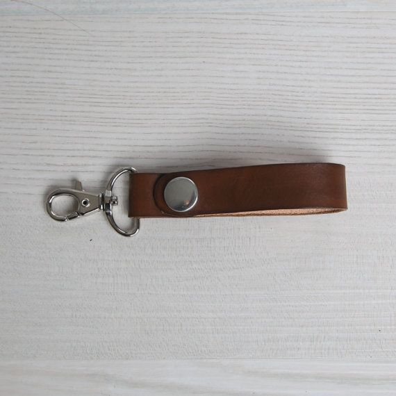 Walnut Brown Leather Keychain Leather Key Fob With Snap And Clip