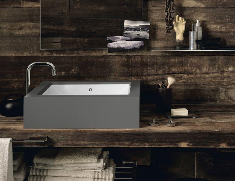design handwaschbecken badezimmer rechteckig grau armatur - holz für badezimmer