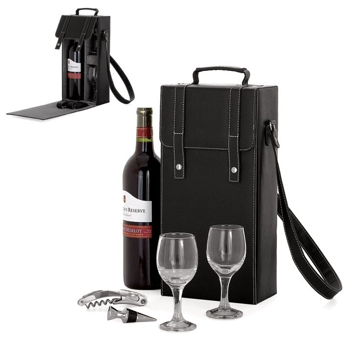 Faux leather case contains: corkscrew, bottle topper and two 4oz. wine glasses. (Wine not included.)
