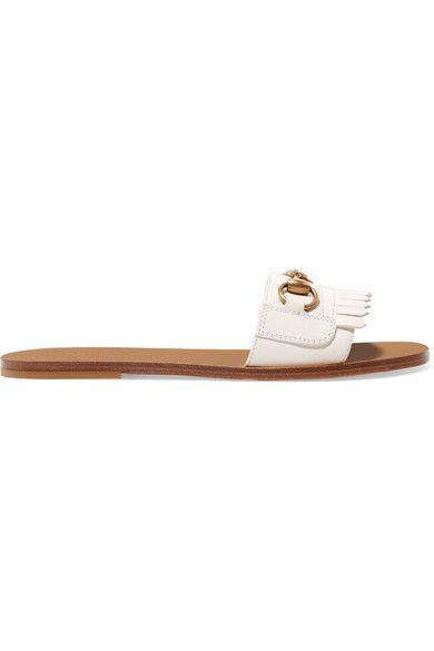 d19a41cd5ce Gucci - Varadero Horsebit-detailed Fringed Leather Slides - White ...