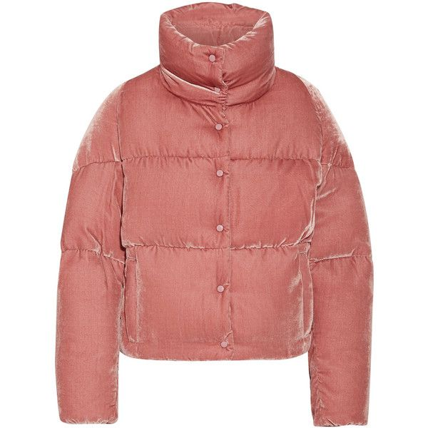 Moncler Cercis quilted velvet down jacket ($1,430) ❤ liked on Polyvore featuring outerwear, jackets, coats, moncler, antique rose, floral-print bomber ...