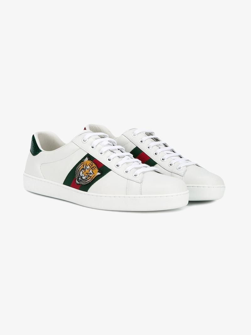 931ecfbc459f GUCCI TIGER EMBROIDERED SNEAKERS.  gucci  shoes  sneakers