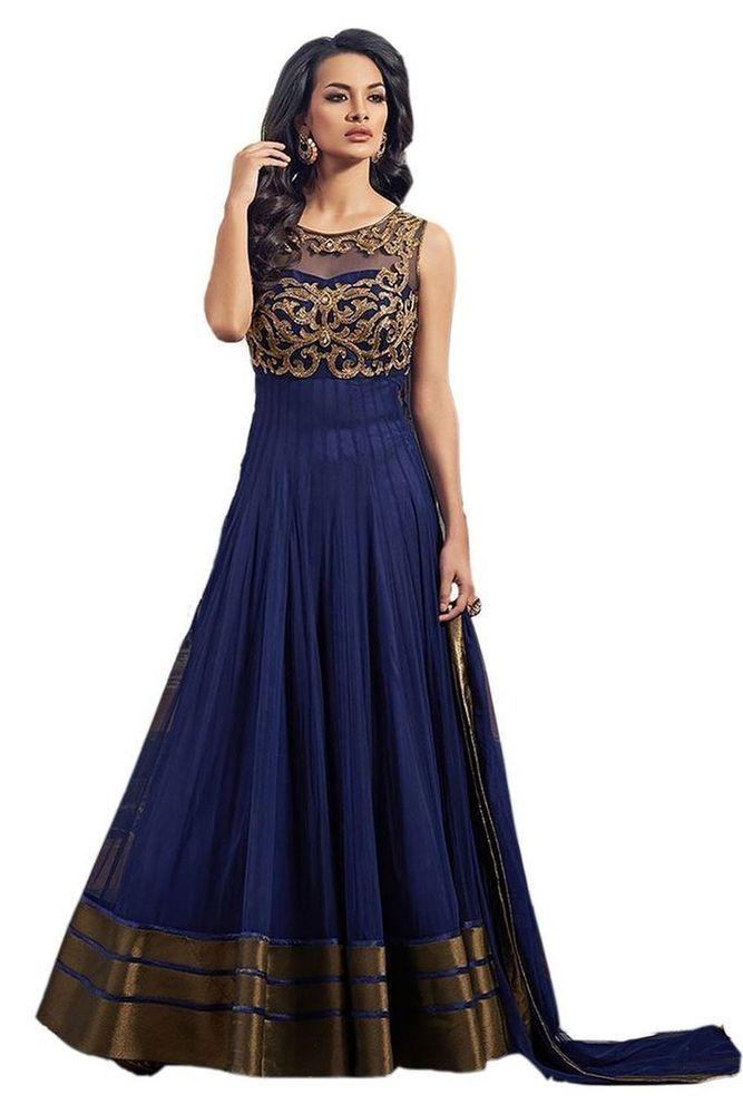 Women s Blue Net Semi Stiched Dress | eBay