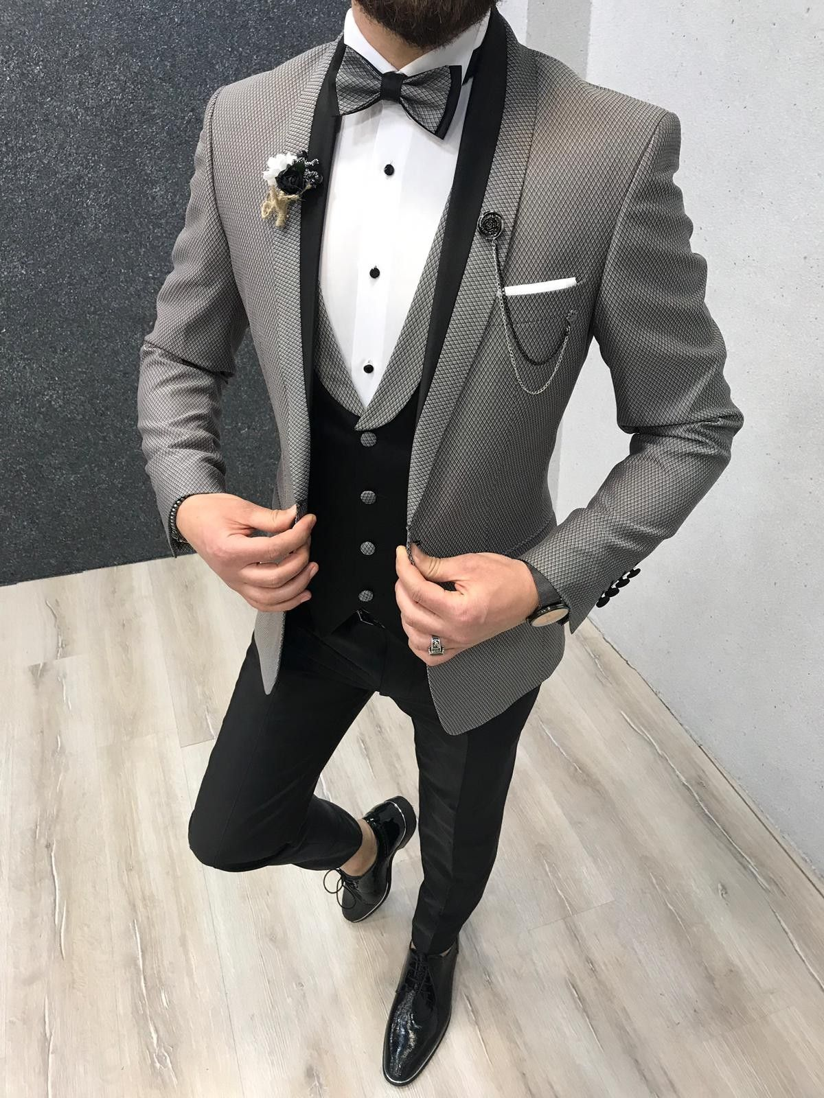 Buy gray slim fit tuxedo by with in 2020