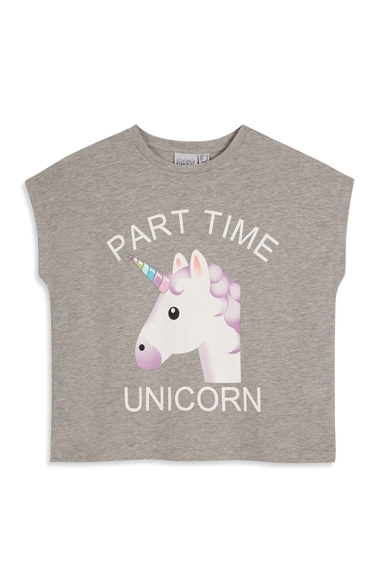 2ed3e8b11ae3d Primark - Grey Unicorn Party Top