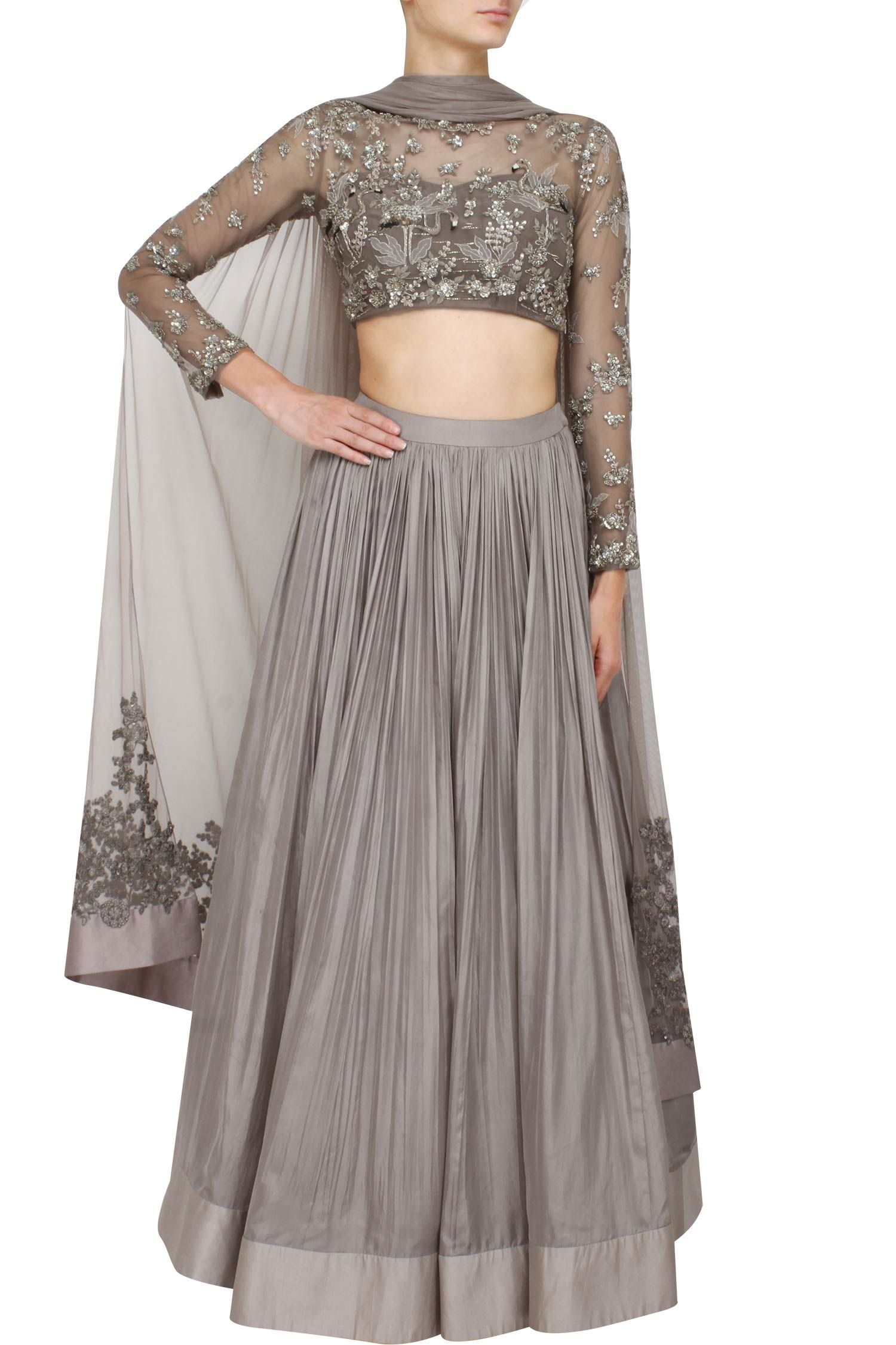 b93599279e426 Grey lehenga set with embellished blouse