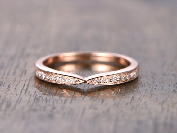 Curved Wedding Band Chevron Twist Ring Half Eternity Art Deco Vintage Style Stacking 14k Rose Gold