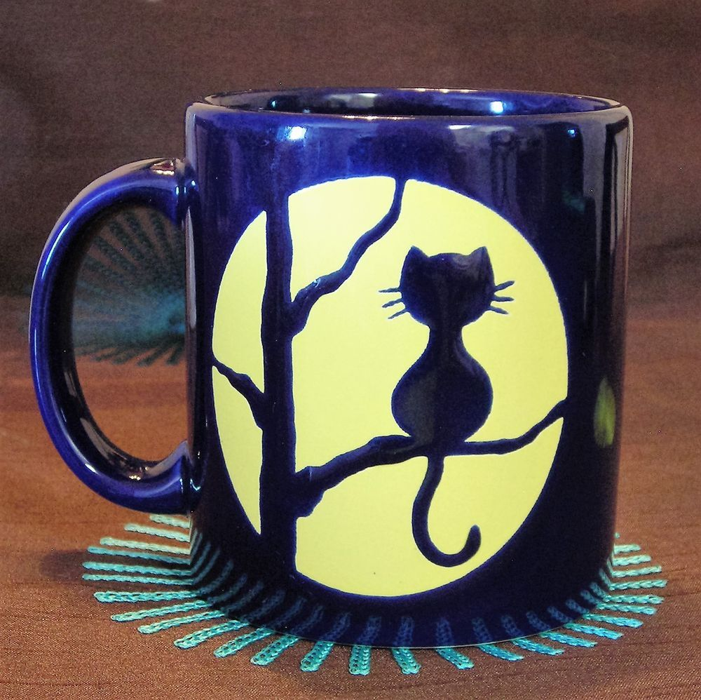 Waechtersbach Mug Cat In Tree Yellow Full Moon Blue Double