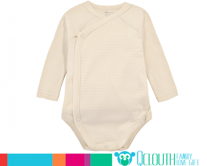 Organic Cotton Infant Baby Onesies Double Long Sleeve Striped Yellow