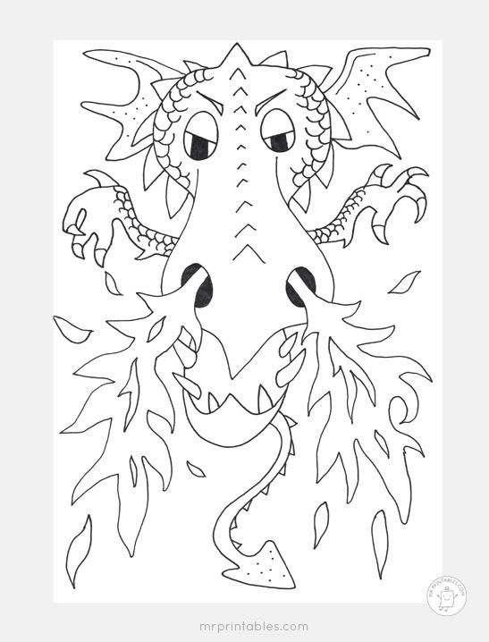 dragon fire coloring page - Fire Coloring Pages
