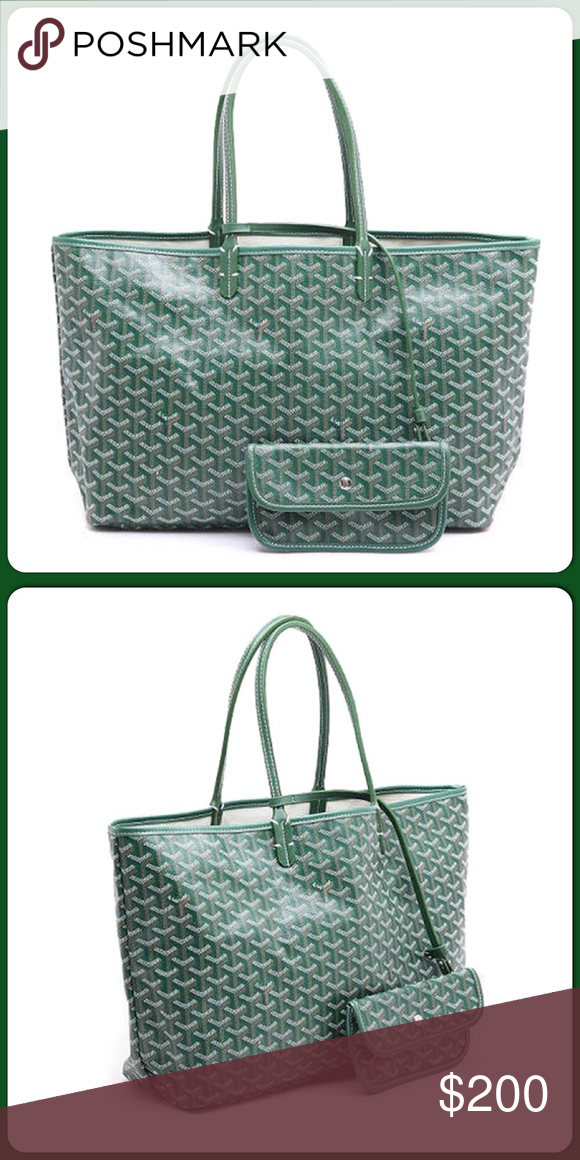 81e6694e68b Goyard Chevron Tote w  matching wallet Green  200 Goyard inspired pm Tote  with matching wallet attached in hunter green for  200. Great ideal like  original ...