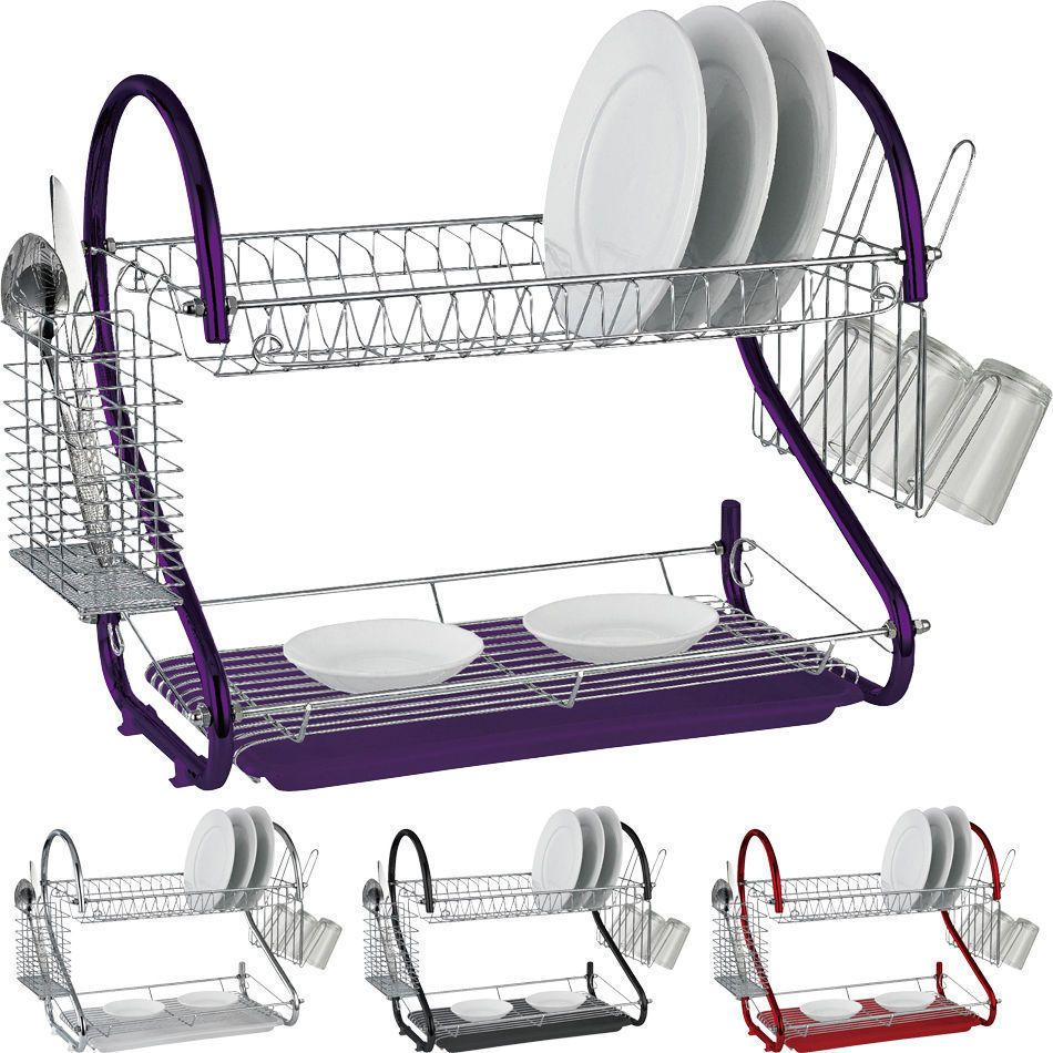 Details about 2 Tier Chrome Dish Drainer with Plates Rack/Glass