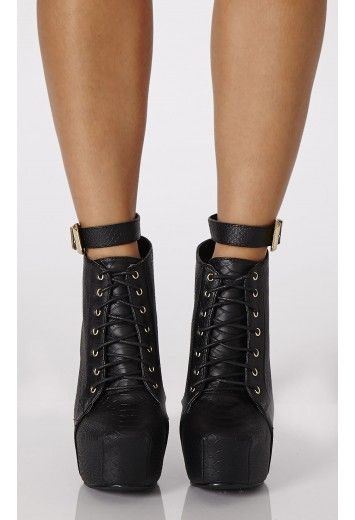 Minori Ankle Strap Platform Boots In Mock Croc - Boots - Shoes - Missguided