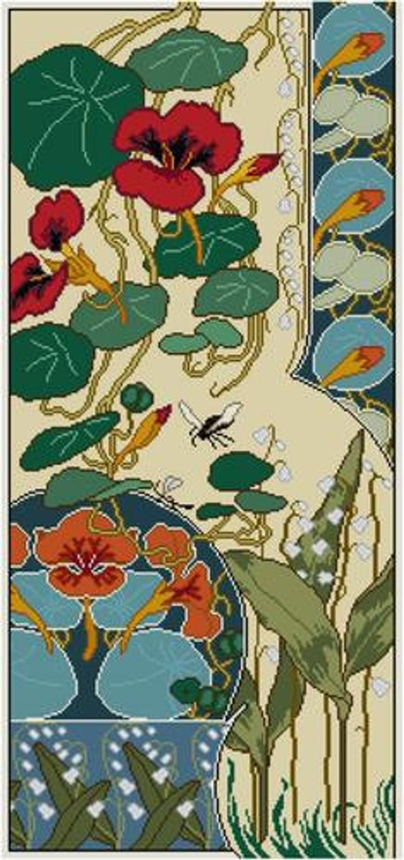 Nasturtium y Lily of the Valley Floral Panel Cross patrón ...