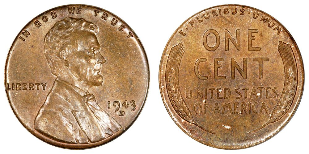 1943 D Lincoln Wheat Cent Small Cents Bronze Copper Steel Composite Penny Coins Valuable Coins Valuable Pennies