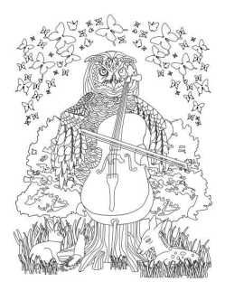 adult coloring page owl playing cello | Adult Coloring Books ...