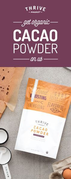 Get your FREE bag of organic cacao powder at Thrive Market! On a mission to make healthy living easy and affordable for everyone, Thrive Market offers premium, healthy foods and wholesome products up to 50% off every day with delivery right to your door. Get your FREE bag today while supplies last, and start saving!