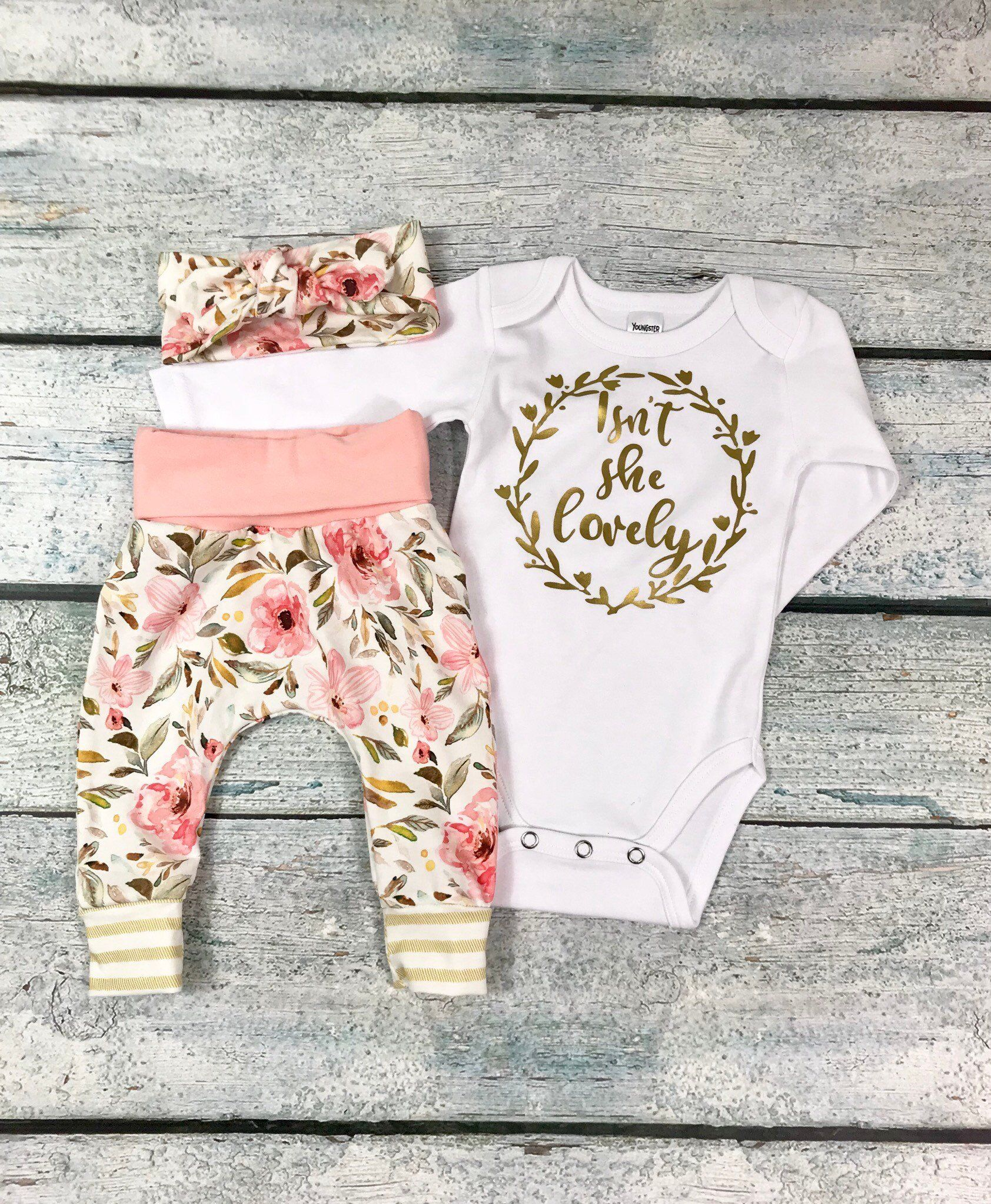 Photo of newborn girl coming home outfit/baby girl isn't she lovely floral set