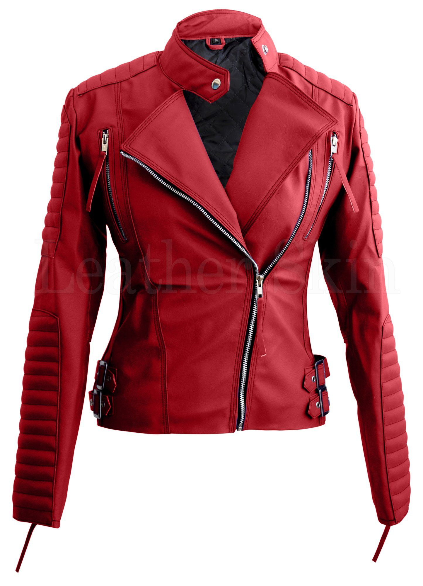 Leather Skin Red Women Ladies Brando Style Synthetic Leather Jacket Purple Leather Jacket Faux Leather Jacket Women Leather Jackets Women [ 1999 x 1444 Pixel ]