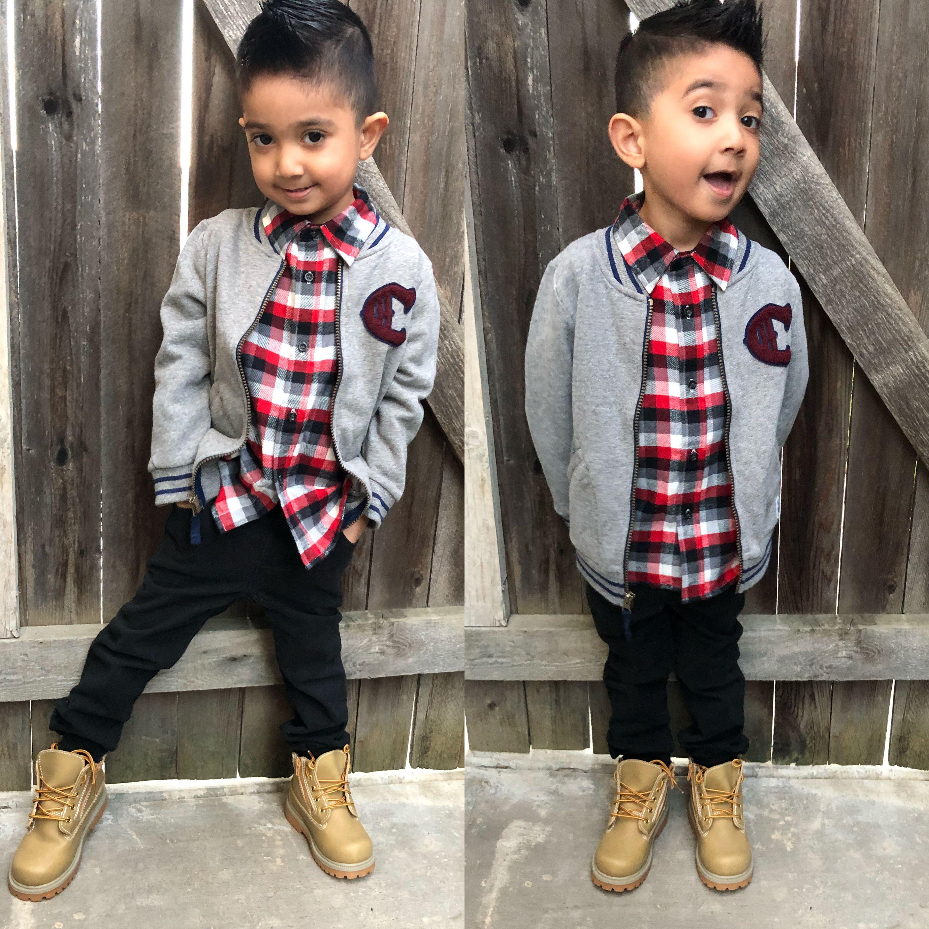 Little Boys Winter Outfit Boots Plaidshirt Plaids Timberlands Toddlerboysfashion Kidswinteroutfit Boys Winter Clothes Kids Outfits Boy Outfits