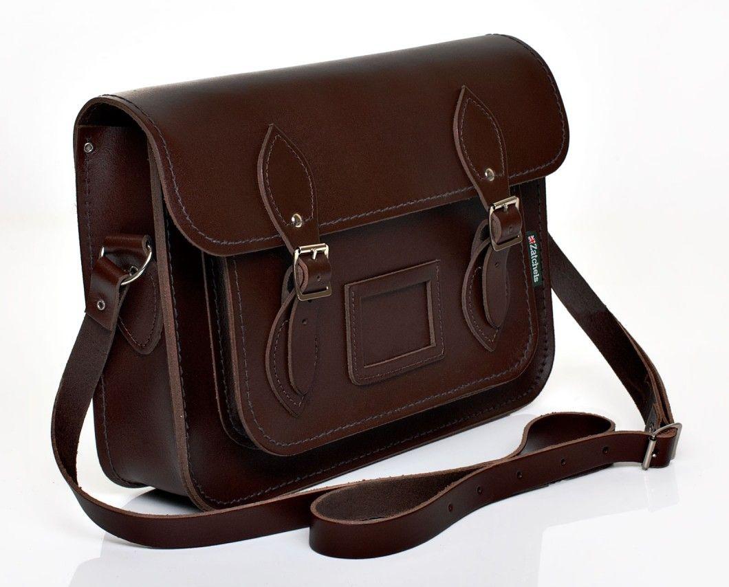 Zatchels Dark Brown Leather Satchel Made In England