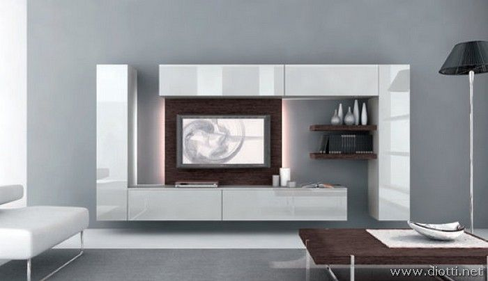 Day mobile soggiorno pd01 grigio perla rovere moro for Mobile parete sala