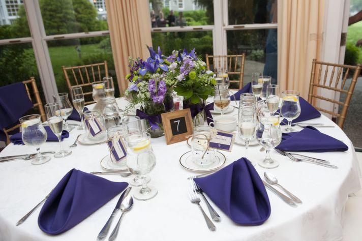 Purple Decor at a Reception Table