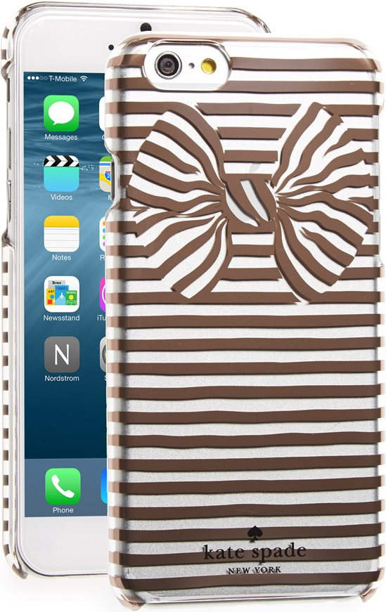 size 40 7a375 40947 Kate Spade New York Rose Gold & Clear 'Bow Stripe' iPhone 6/6s/6 ...
