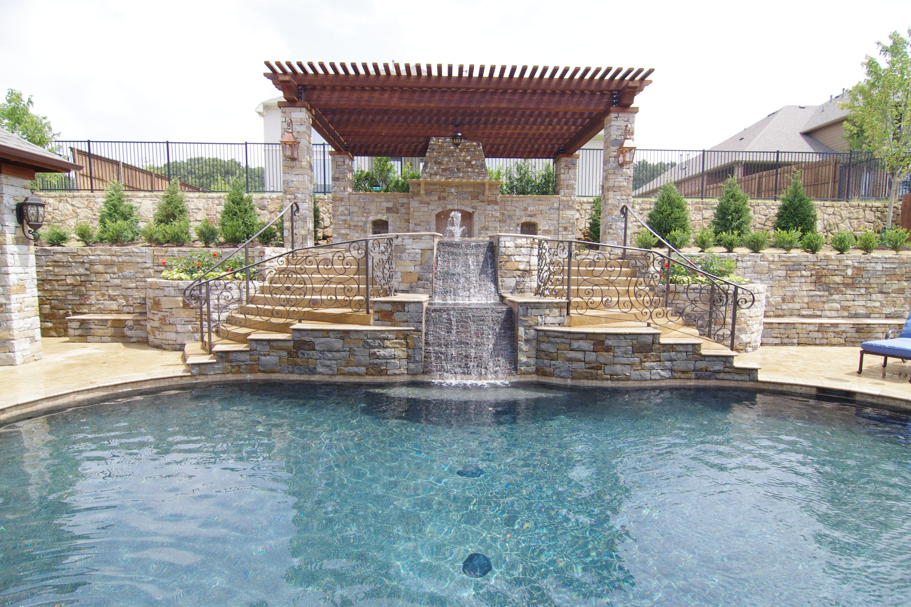 Swimming Pools Yard With Elevation Change Spa Is The Focal