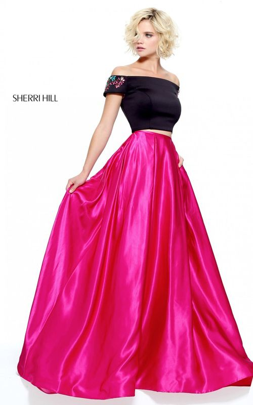 Black Fuchsia Sherri Hill 51101 Two Piece Long Prom Dress | Shop ...