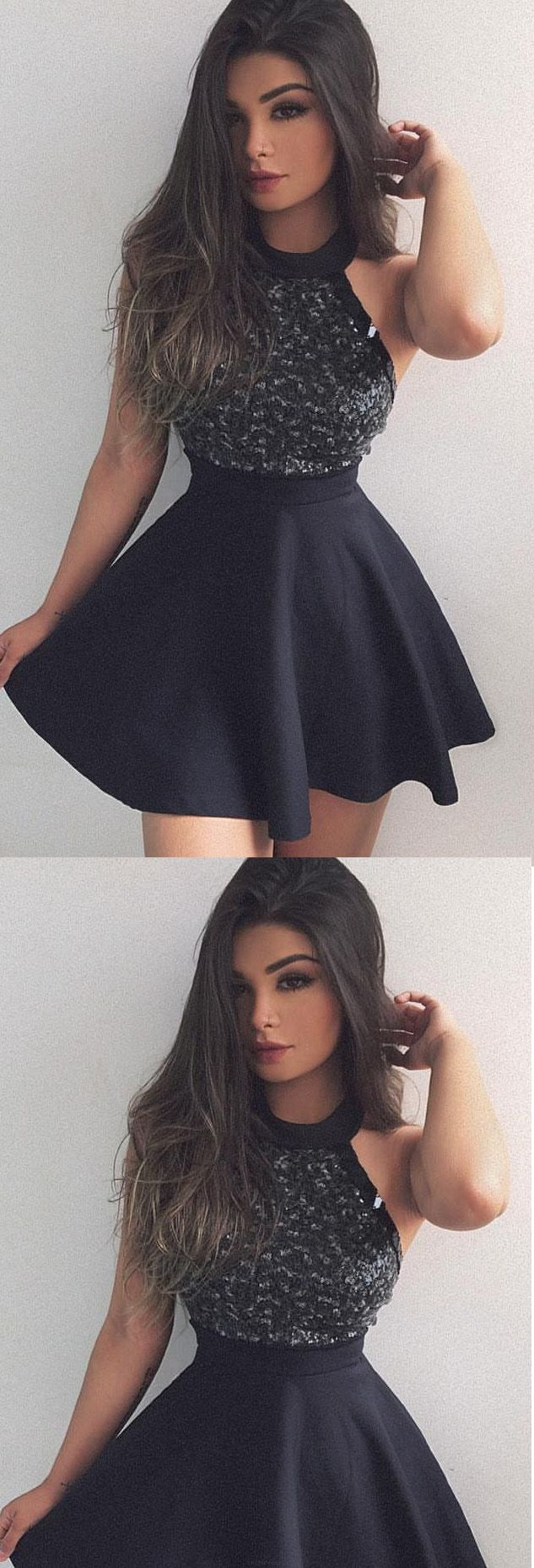 homecoming dress sexy black halter beading short prom dress