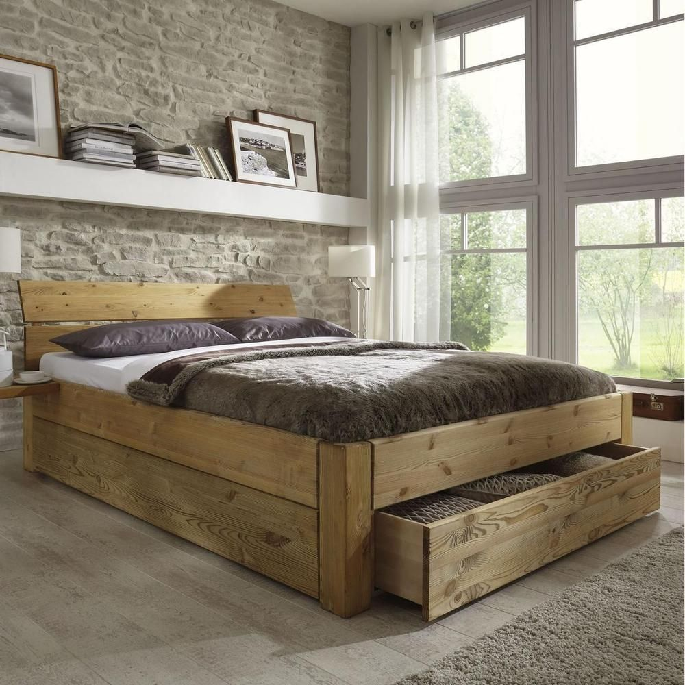 doppelbett bett gestell mit schubladen 180x200 kiefer massiv holz gelaugt ge lt deko i home i. Black Bedroom Furniture Sets. Home Design Ideas