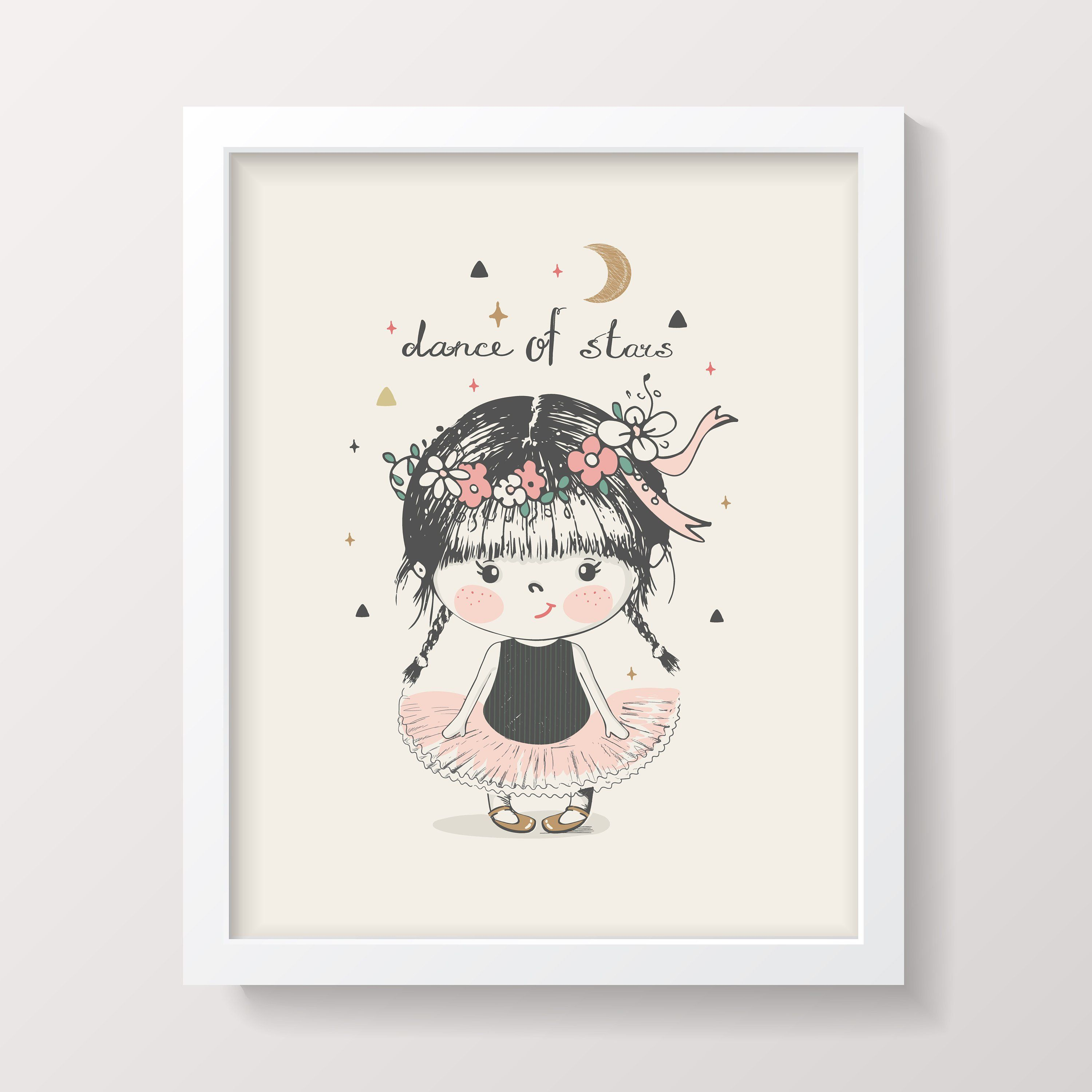 Nursery Prints Girl Wall Art Digital Download Printable Kids Room Decor Nursery Wall