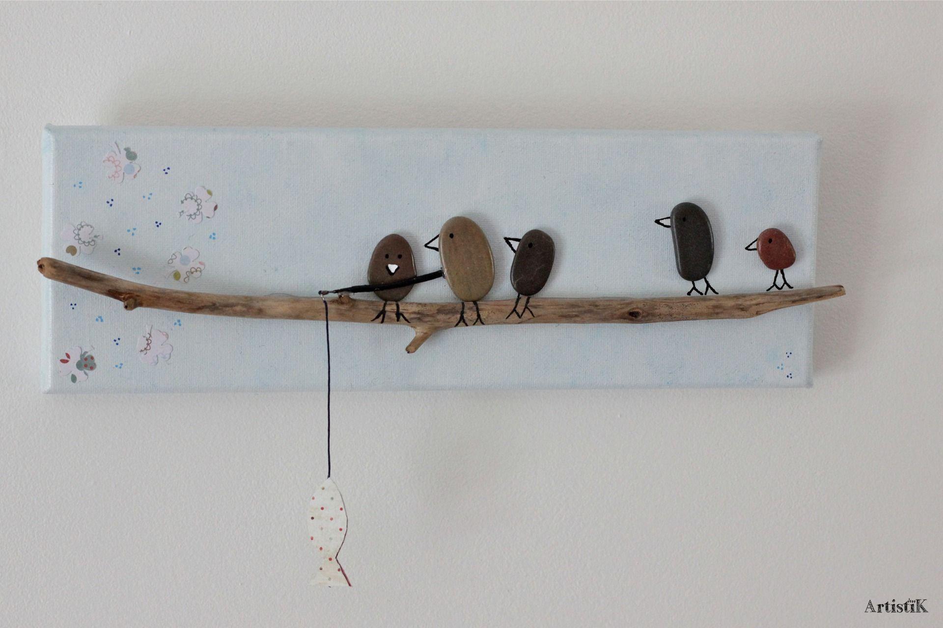 Tableau rectangulaire galets oiseaux bois flott fond bleu for Bois flottes decoration